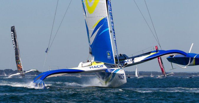 Le Trimaran Macif pendant la course Ar Men Race Uship © Macif Course au large