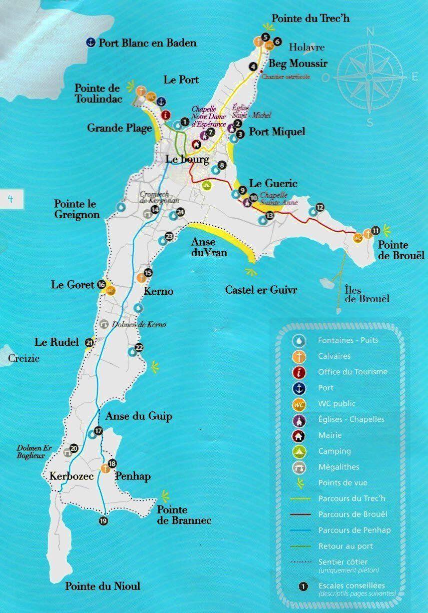 Carte Bretagne Randonnee.Randonnee Bretagne Visiter L Ile Aux Moines Dans Le Golfe Du Morbihan